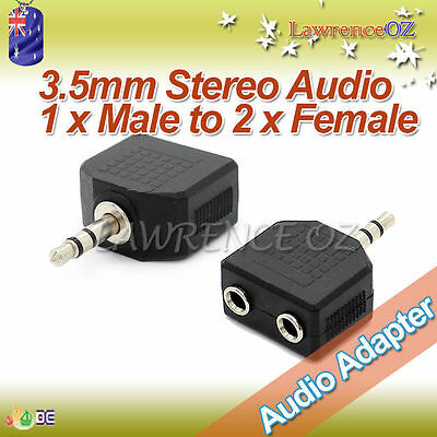 3.5mm Stereo Audio 1 x Male to 2 x Female Gold Platted Double Adaptor Connectors