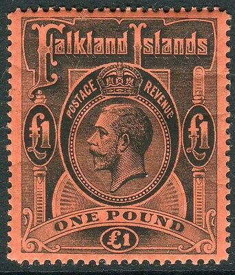 FALKLAND ISLANDS-1912-20 £1 Black/Red.  A mounted mint exammple Sg 69