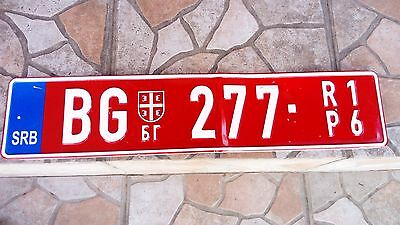 Serbia TEMPORARY license plate - red  band newest type - VERY RARE