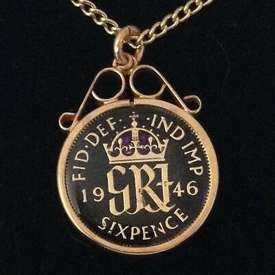 1946 George VI Enamelled Sixpence Coin Pendant. Black/gold/purple. 71st Birthday