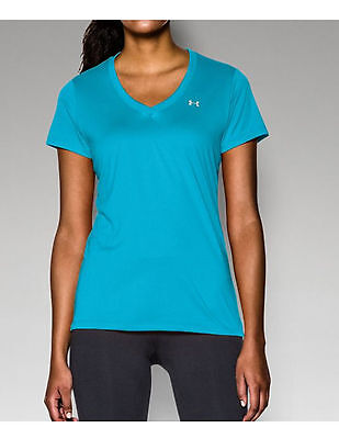 Under Armour Women's UA Tech V Neck Tee, Island Blue, XL