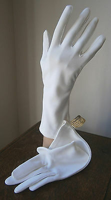 VINTAGE 1950s/60s WHITE STRETCH NYLON  3/4 LENGTH GLOVES WEDDING UNUSED WITH TAG