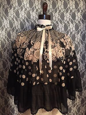 Vintage Victorian Gothic Cape Lolita Cream & Black Patter Historically Inspired