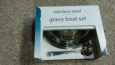 New In Box Tramontina 2pc Gravy Boat Set Stainless Steel Best Deal!