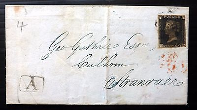 GB 1840 - 1d Black Used on Cover to Scotland NB1002