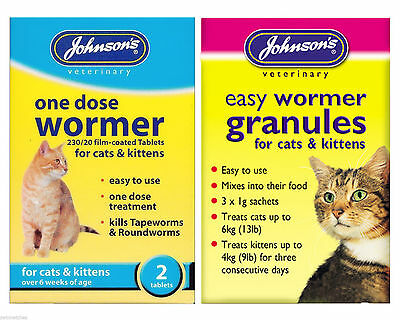 Johnson's Cat Kitten One Dose Wormer Tablet Worming Granules Roundworm Tapeworm