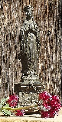Antique French Religious Statue Virgin Mary Small Shrine Our Lady Lourdes