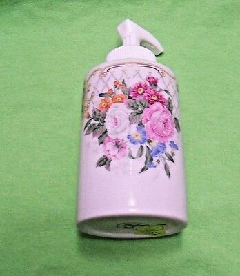 Andrea by Sadek Le Beau Bain porcelain Soap / Lotion dispenser floral Amore NIB