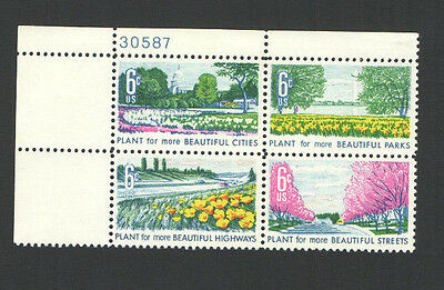 Vintage Unused US Postage Block 6 Cent Stamps PLANT for more BEAUTIFUL CITIES PA
