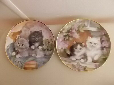 2 Collector Cat Plates - Brian Walsh:  Under The Lilacs & Cuddly Companions