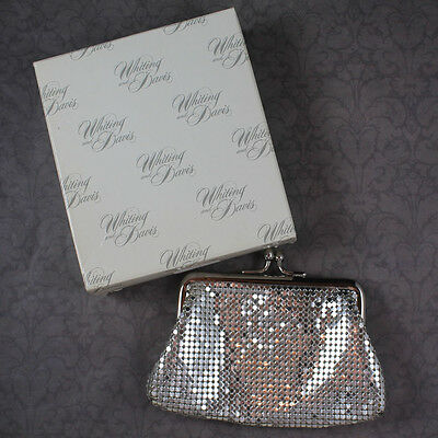 Vintage Whiting and Davis Silver Lame Mesh Change Purse with Original Box