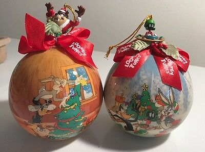 4 Looney Tunes Christmas Ball Ornaments  Warner Bros Bugs Bunny Sylvester Tweety