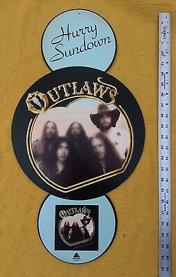 Vintage 1977 Outlaws Hurry Sundown Record Store Display  Southern Rock RARE!
