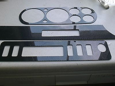 "Ford Escort Mk1 Mexico 6 Dial Dash 3 Piece Embellisher in ""Carbon"" Effect."