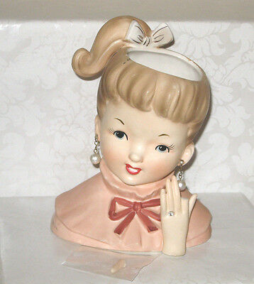 Vtg Rare Napco Head Vase 1960 Blond Teen W/ponytail C50370 Rhinestone Ring Japan