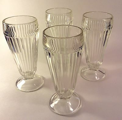 Set of 4 Vintage Jeanette Glass Ribbed Footed Ice Cream Soda Fountain Glasses
