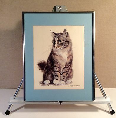 DAVID GORDON BROWN~Color Lithograph Print~Calico Cat~Framed & Matted