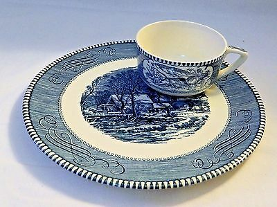 "CURRIER AND IVES by ROYAL  - SNACK SET - 9 1/4"" plate & cup - VERY RARE!!!"