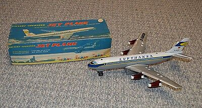 "TN Japan Battery Operated ""Lufthansa"" Jet Airplane 15 1/2"" Long Excellent W/Box"