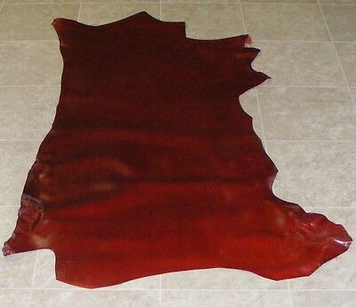 (GBE8280-1) Side of Dark Red Cow Leather Hide Skin