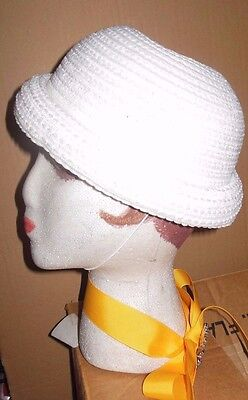 "New Lot of 12 Child sz White Crochet rolledbrim straw dressy hats ""Sunday"" #3359"