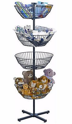 """Wire Spin Basket Store Display Rotating Tiered Dump Bin Rack 4 63"""" Free Standing"""