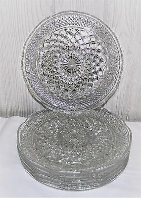 """Wexford Glass  - (6) 9 1/2"""" Dinner Plates -- Anchor Hocking"""
