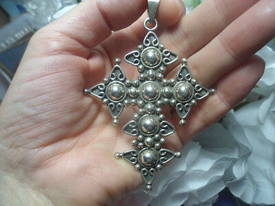 Taxco Giant Huge Large Ornate Vtg Cross Pendant Mexico 925 Sterling Silver Old