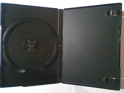 6x cases - Black 14mm DVD Case's for 1 Disc dvd's NEW with clear cover sleeve