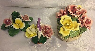 VTG 2 Capidomonte Porcelain Flower Basket Bouquet Hand Modeled, & 1Candle Stick