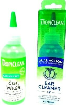 Tropiclean Ear Cleaner & Ear Wash reduces Ear Odor Removes Wax Debris Dogs Cats