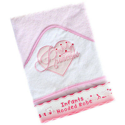 Baby Girls Quality White Hooded Towel Robe With Princess Design by Soft Touch