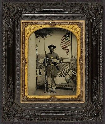 Photo Civil War Union African American Soldier Musket Revolver American Flag