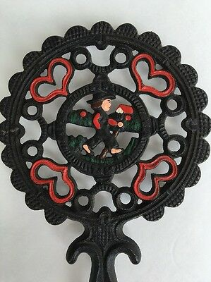 Cast Iron Dutch Boy Amish Trivet (1952, J.Z.H.) Hearts #20