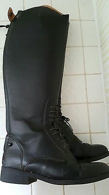 Saxon Tall Black Laced Field Show Dressage Horse Riding Boots Zip