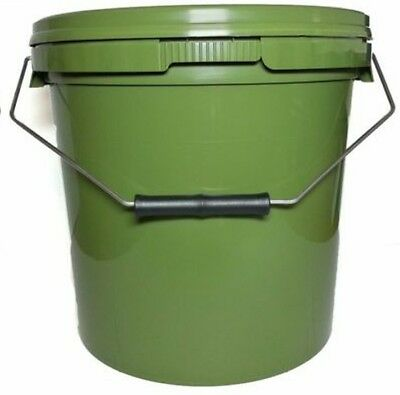 2 X NEW Carp Fishing 15 Litre Green Olive Round Bait Bucket