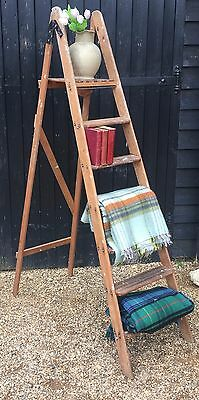 Tall Vintage Wooden Step Ladder Great For Shops Display Or Wedding Stand