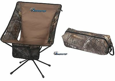 Portable Hunting Chair Lite Up to 225 Lbs Realtree Camo Ameristep Carrying Bag