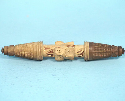Antique Swiss Black Forest Wood Carved Needle Thread Holder Edelweiss Brienz