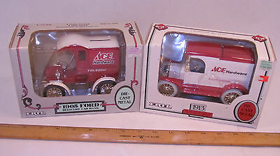 Lot of 2 ERTL Ace Hardware Delivery Trucks Bank