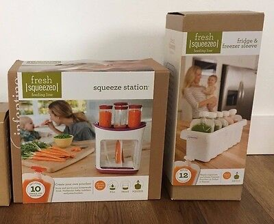 Infantino Squeeze Station with 10 Baby Food Pouches and Freezer Tray