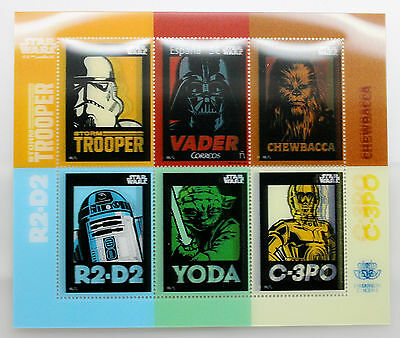 2017 Spain Star Wars Stamps Sheet Rare 3d Stamps Yoda R2 D2