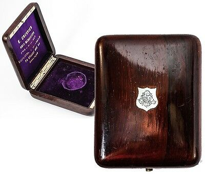 Antique French Rosewood & Mother of Pearl Medal or Pocket Watch Box, Case, Etui