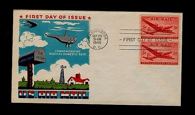 Scott# C32 5¢ DC-4 Skymaster Pair on FLUEGEL Cachet First Day Cover Sept 25 1946