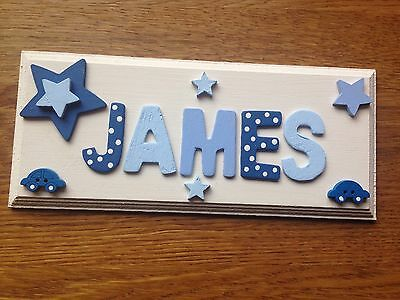 Personalised Wooden Name Plaque For Boys Bedroom Door Wall Or Toy Box Decoration