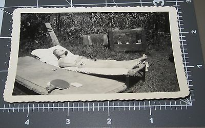 Cucumber Eyes? Woman Swimsuit Lawn Tanning Pretty Girl Vintage Snapshot PHOTO