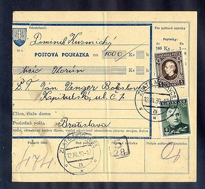 Slovakia, 1939, Money postal order from Zlate Moravce to Bratislava with censors