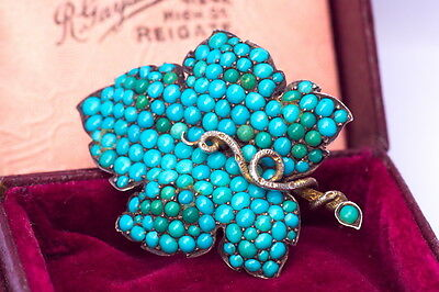 Antique Victorian English Silver Gilt Turquoise Pave Snake Leaf Brooch Boxed