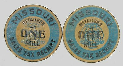 Lot of 2 Missouri 1 Mill Sales Tax Receipt Tax Tokens #56410