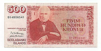 Iceland 500 Kronur 1986 Pick 55 Look Scans